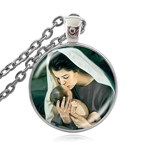 Colgante Cristiano De Jesucristo, Collares De Cristal Religiosos Católicos, Collar De La Virgen María, Madre del Bebé, 60 + 5Cm