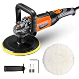 TACKLIFE Polisher and Sander,6 Variable Speeds Polishing Machine with 180MM Polishing Pad Detachable,D-Handle,Wool