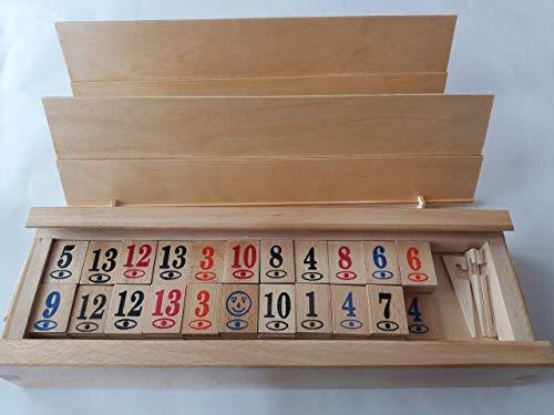 Neu groß komplett aus Holz handgefertigt Rommé rummikub Spiel Kinderreisespiel Strategie Familie Brettspiel in großer Holzkiste Geschenk