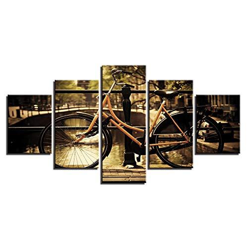 LOVELYJ Leinwanddrucke 5 Panels Moderne Leinwand Kunstwerk Fahrrad Landschaft Landschaft Bilder Foto Gemälde Auf Leinwand Wandkunst-Rahmen