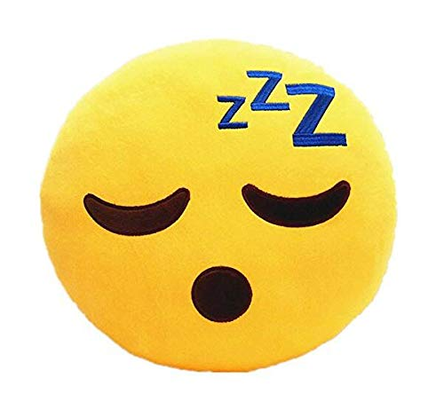 Xiton Creative Emoji Smiley Oreiller Doux en Peluche Coussin Coussin Rond Jaune