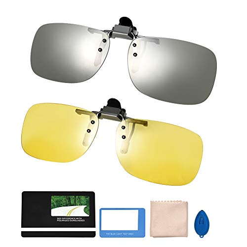 Asiv - Clip para Gafas polarizadas, 2 Unidades, Clip en Gafas de Sol UV400, protección Flip-up para Ciclismo Exterior y conducción, día + visión Nocturna, Unisex
