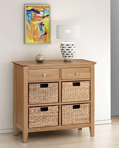 ADHW Oak Shoe Storage Basket Table | Chest of Drawers | Wooden Hallway/Side/End Unit