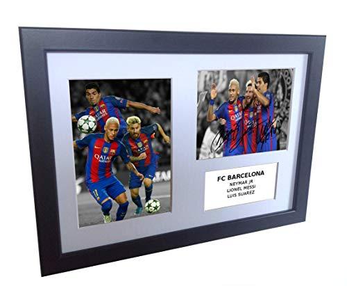 Signed Black Soccer Lionel Messi Neymar Jr Luis Suarez Barcelona Autographed Photo Photographed Picture Frame A4 12x8 Football Gift