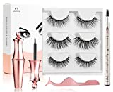 Mihqy Magnetic Eyeliner and Lashes Magnetic Eyelashes Kit - False Lashes 3 Style with Tweezers,Reusable, Natural Look (with Eyebrow Pencil)