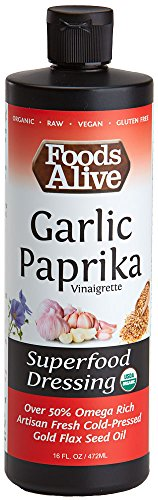 Foods Alive Garlic Paprika Salad Dressing, Organic Superfood Dressing Made With Artisan Cold-Pressed Flax Oil - Keto-friendly, Non-GMO, Gluten-Free, Plant-based, 16oz