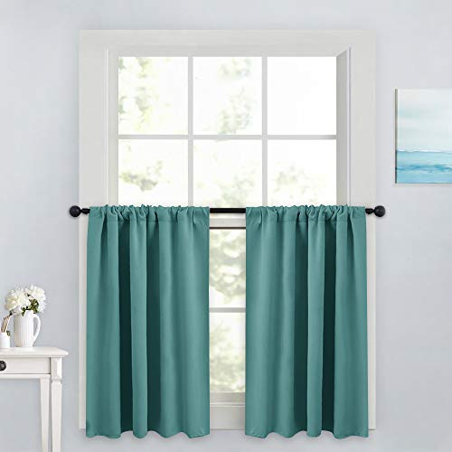 PONY DANCE Kitchen Curtain Valances - Home Decor Rod Pocket Thermal Insulated Window Treatments for Living Room Match with Draperies, 42 W x 36 L, Sea Teal, 2 Panels