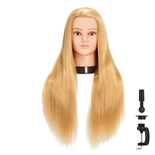 hairginkgo 66cm -71cm maniquí cabeza synthentic Cable de peluquería formación cabeza maniquí de peluquería con soporte pinza para mesa (91802W2720)
