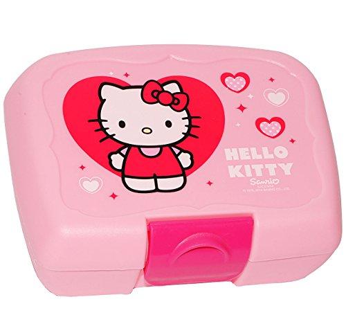 alles-meine.de GmbH Lunchbox / Brotdose -  Hello Kitty  - Brotbüchse - Küche Essen für Mädchen - Katze / Kätzchen - Herzen Miezekatze - rosa - Kinder Vesperdose