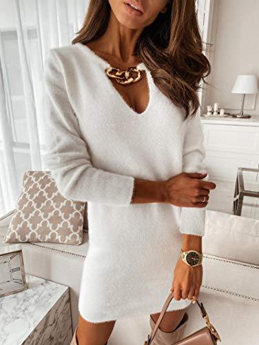 Vestido de Felpa con Cuello en V Profundo Mini Vestido de Fiesta sólido Suéteres de Manga Larga Ajustados para Mujer Vestidos XL Blanco