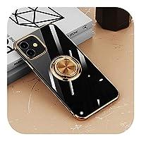 for iPhone 12 11 Pro Max XS XR X 7 8 Plus 12Pro11Proソフトシェルシリコンカバー用のメッキ透明ケースリングホルダースタンド付き-Gold-for iPhone X
