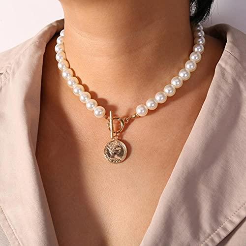 Nueva cadena de doble capa, collar de gargantilla de Color dorado para mujer, collar con colgante de perlas de estilo coreano, joyer¨ªa de moda, Collar-43672