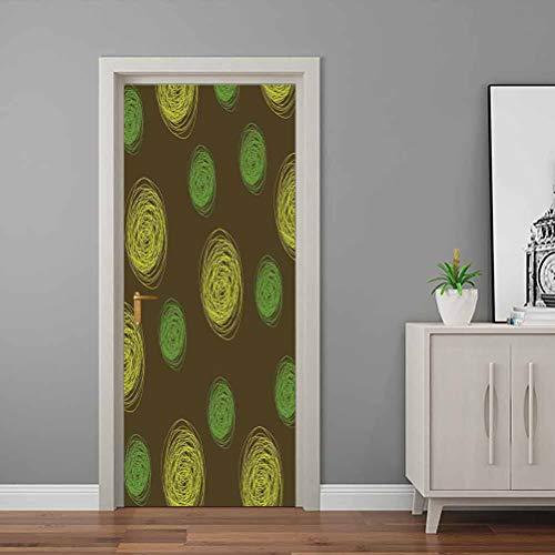 3D Door Decal Round Doodles Spots in Green Tones Spirals Swirled Big Funky Dots Pattern Welcome Front Door Sticker Used on Wooden Closet Door Chocolate Lime Green 32 x 80 Inch