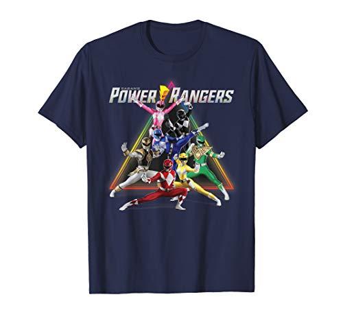 Power Rangers Group Shot Triangle Rainbow T-Shirt