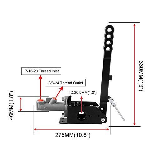 E-brake Racing Parking Emergency Brake Lever Handle Red RYANSTAR Hydraulic Handbrake Master Cylinder 3//4