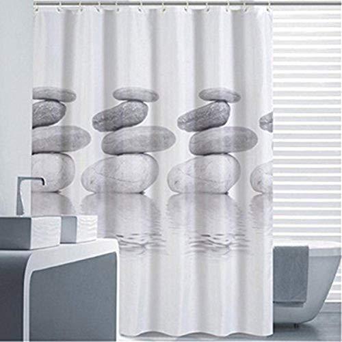 Goldbeing Duschvorhang 240x200 Textil Grau Pebble Schimmelresistenter & Wasserabweisend Shower Curtain mit 16 Duschvorhangringen