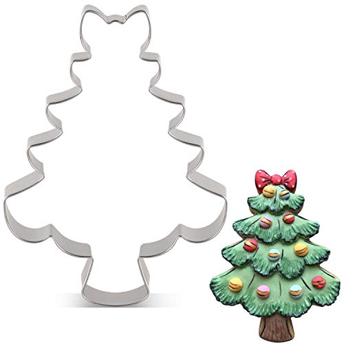 LILIAO Christmas Tree with Bow Cookie Cutter - 34 x 45 inches - Stainless Steel