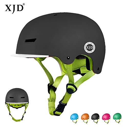 XJD Kinder Jugend Fahrradhelm Beschützer 2.0 CE-Zertifizierung für Sport Skateboard Motorrad 3-13 Alt (Schwarz M)