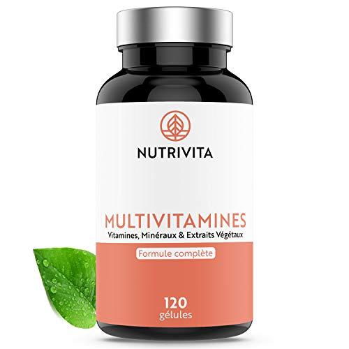 Multivitamines | 29 Actifs Naturels et Assimilables | Vitamines, Minéraux & Extraits Végétaux | Complément Anti-Fatigue, Anti-Stress et Antioxydant | 120 gélules | Fabriqué en France | Nutrivita
