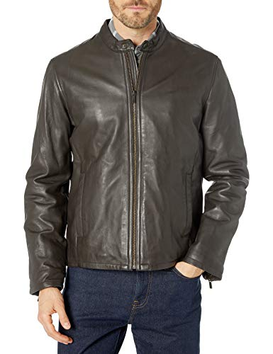Cole Haan Men's Leather Jacket, Java, Medium