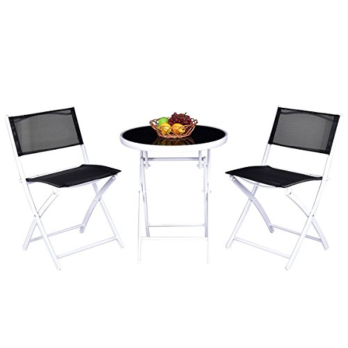 Giantex Folding Bistro Table Set 3PCS W/ 2 Chairs Garden Backyard Patio Outdoor Furniture (Black)