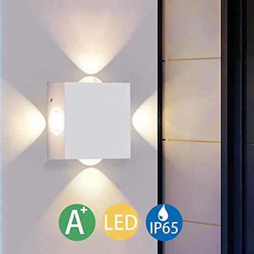 LED Wandleuchte Innen Warmweiß, Elitlife LED Wandlampe Außen 4W Wasserdicht IP65 Modern Up Down Leuchte Wandlicht aus Aluminium Wandbeleuchtung für Bad Flur Kinderzimmer Treppenhaus Wohnzimmer (Weiß)