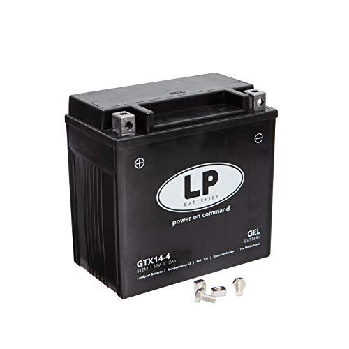 TECNO GEL LP Motorrad-Batterie YTX14-BS, 12V Gel-Batterie 14Ah (DIN 51214), 151x87x145 mm inkl. Pfand