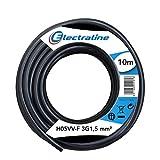 Electraline 11761 Cavo per Prolunghe Sezione 3G1.5 mm, Nero, 10 m