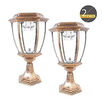 2 Pack Outdoor Solar Post Lights,Waterproof LED Landscape Light Energy Saving Lantern lamp,for Fence Deck or Patio (Bronze)