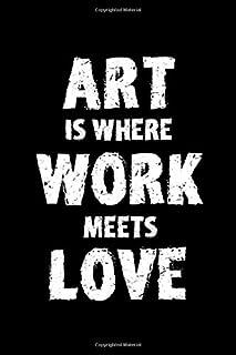 Art Is Where Work Meets Love: Blank Lined Notebook ( Art) Black