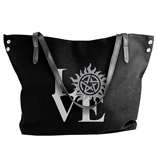 shuangshao liu shliu-1 Schultertasche Bag LOVE Supernatural Canvas Tote Schultertasche Bag Casual Handbag For Women's Black