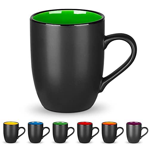 DeeCoo Kaffeebecher-Set aus Porzellan, matt, schwarz, 473 ml, große Keramik-Restaurant-Kaffeetassen für Kaffee, Tee, Saft, Kakao, Grün