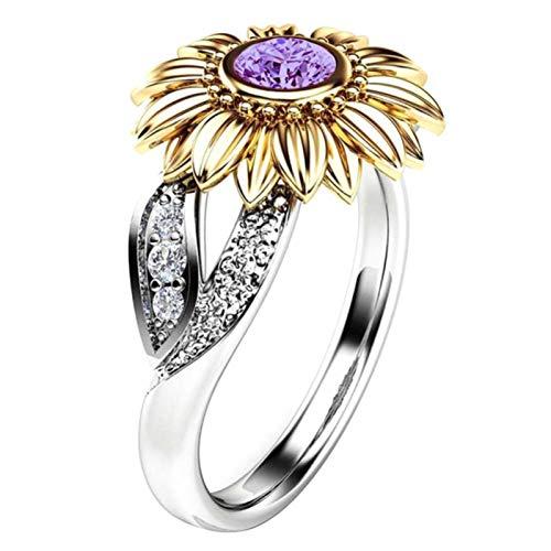 Anillo de dedo Benoon, anillo de dedo con incrustaciones de girasol con incrustaciones de diamantes de imitación para mujer, regalo de joyería de boda y fiesta – oro + morado US 6