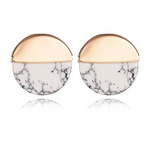 Geerier Golden Metal Frame Marble Stone Stud Earring Round White