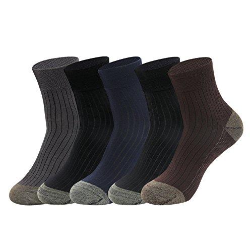 Gather Other 5 Paar Antibakterien Anti-Geruchs-Socken mit Kupfer-Faser Bambus Socken für Herren,Wide Ribtop