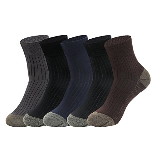 Gather Other 5 Paar Antibakterien Anti-Geruchs-Socken mit Kupfer-Faser Bambus Socken für Herren,Wide Ribtop