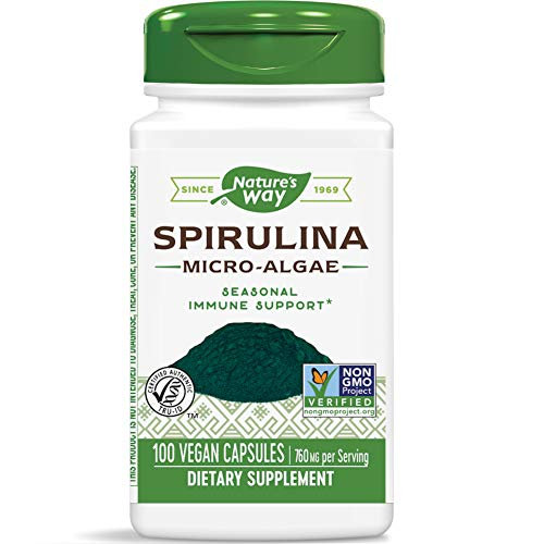 Nature's Way Spirulina Micro-Algae Capsules, 760 mg per Serving, Non-GMO Supplement, 100 Count