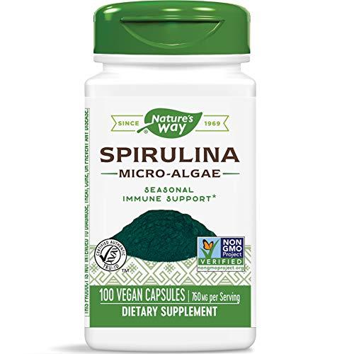Nature's Way Spirulina Micro-Algae Capsules, 760 mg per Serving, Non-GMO Supplement, 100 Count