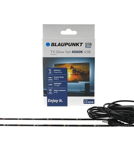 Blaupunkt Set di luci a LED per TV – USB – Set di illuminazione regolabile – fai da te – per alleviare la fatica degli occhi – riflessi sullo schermo – Plug and Play – Per monitor TV