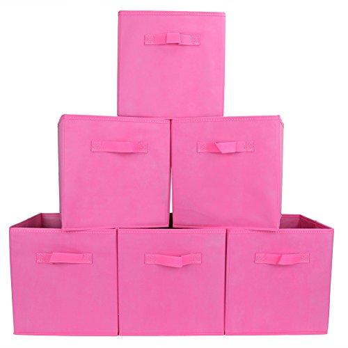 EZOWare Aufbewahrungsbox, 6er-Set Faltbare Aufbewahrungskiste ohne Deckel Regalfach - Pink