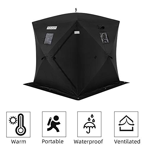 PEXMOR Ice Fishing Shelter, Pop-up Hub-Style for 2 Person, w/Portable Carrying Bag, Detachable Ventilated Windows, Zippered Door, Black Waterproof Oxford Fabric