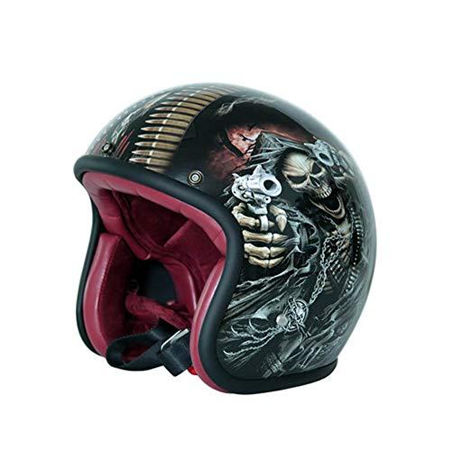 MMRLY Motorrad Halbhelm, Retro Harley Motorrad Jethelm DOT Zertifizierung High Density Glasfaser Sturzhelm Personalisierte Vollfarbe Handwerk (M, L, XL),L