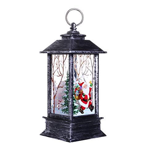 Weihnachtsdeko, Vintage Kleine Öllampe LED Laterne, Tragbare Hängende Teelicht Simuliert Kerzen mit Elch Schneemann,Tragbare Silikon Nachtlichter für Babyzimmer, Schlafzimmer, Wohnräume (A)