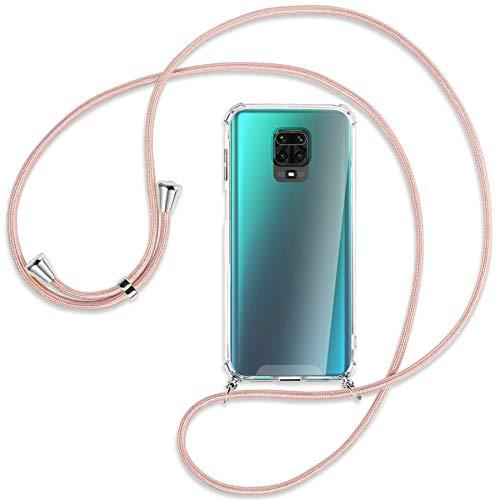 mtb more energy® Collar Smartphone para Xiaomi Redmi Note 9s, Note 9 Pro (6.67'') - Oro Rosa - Funda Protectora ponible - Carcasa Anti Shock con Correa para Hombro