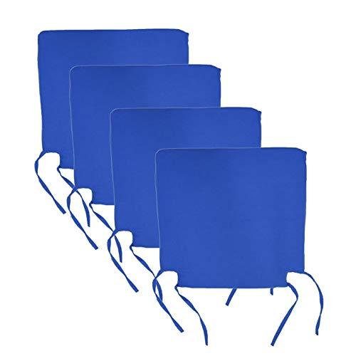 Arcoiris Pack de 4 Cojines de Asiento y Silla, 40x40X3cm,Cojín Silla Loneta , Cómodos, Resistentes, para Cocina, Cuarto, Sala, Jardín, Terraza, Patio, (Espuma, Gris) (Pack 4 Cojines, Azul)
