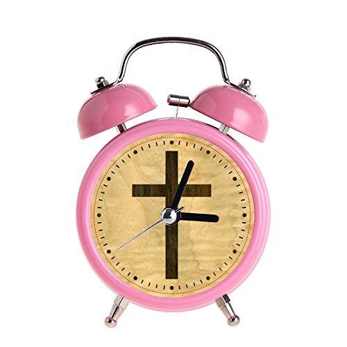 PAEEG Kinder Wecker Vintage Retro Silent Pointer Uhren Runde Nummer Dual Bell Loud Pink Wecker Nacht Nachtlicht Home Dekore Basic Christian Cross Holzfurnier Ahorn Palisander Uhr