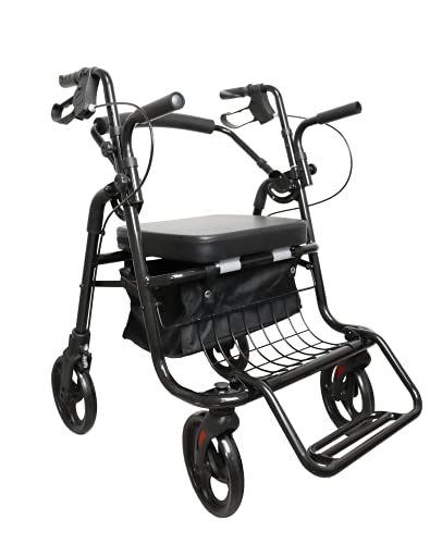 KMINA - Andador Silla de Ruedas (2 en 1), Andador para Ancianos, Andadores con Asiento para Ancianos, Andadores Adultos Aluminio, Andador Ancianos Altura Regulable, Color negro. 🔥