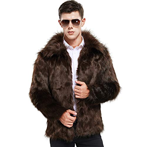 Best Buy! Zicac Men's Faux Fur Coat Winter Warm Fur Jacket Luxury Long Sleeve Overcoat Outerwear Par...