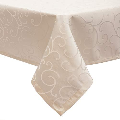 EUGAD Tischdecke Damast Ornamente Seidenglanz Kringel/Circle Design Tafeldecke mit Saum, Tischtuch Größe & Farbe wählbar, Edel Tisch Decke Abwaschbar und Bügelfrei, Eckig 135x180 cm Campagner