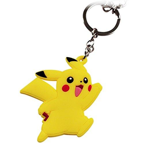 Pokemon Pikachu Rubber and Pokeball Thunder Metal Charm Keychain